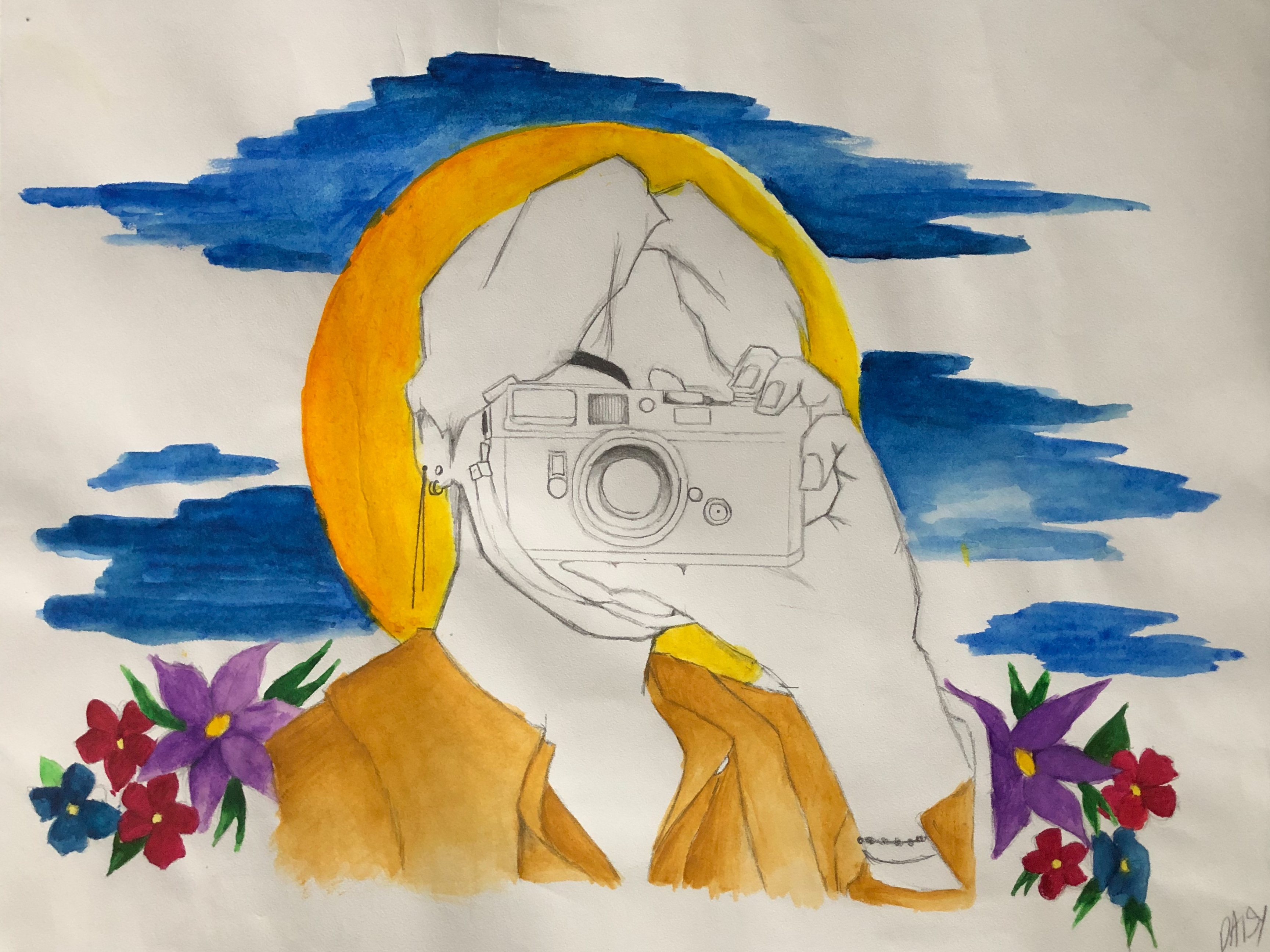 Daisy-Almanza-8th-pencil-_-watercolor-Luanne-Gritton-John-Deere-Middle-School
